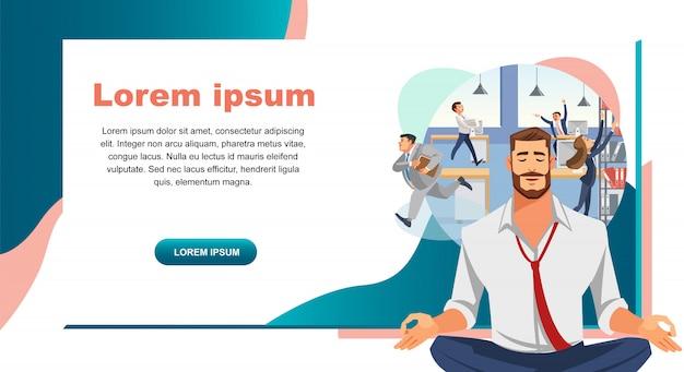 Stress resistance in office work vector web banner Premium Vector