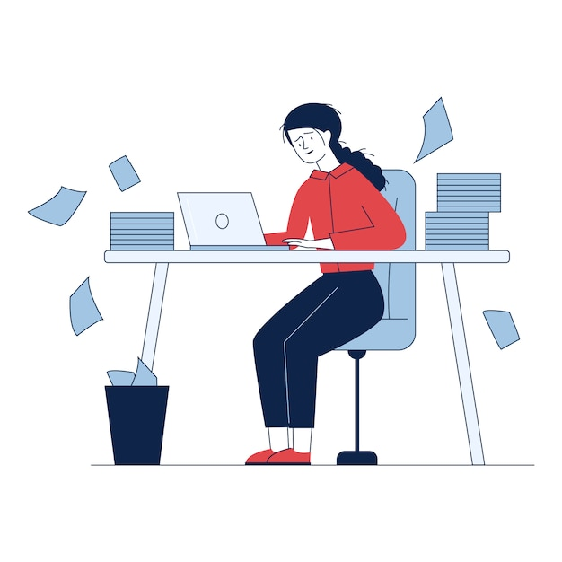 Stressed accountant working with stacks of reports Free Vector