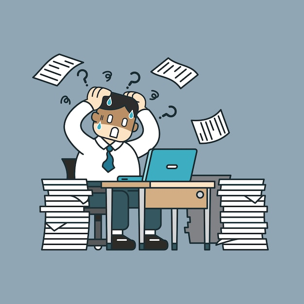 Stressed businessman with papers sitting at table Premium Vector