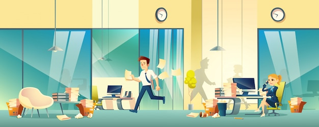 Stressed entrepreneurs in office cartoon Free Vector