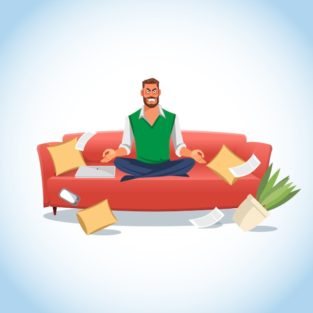 Stressed man in lotus position on the couch Premium Vector
