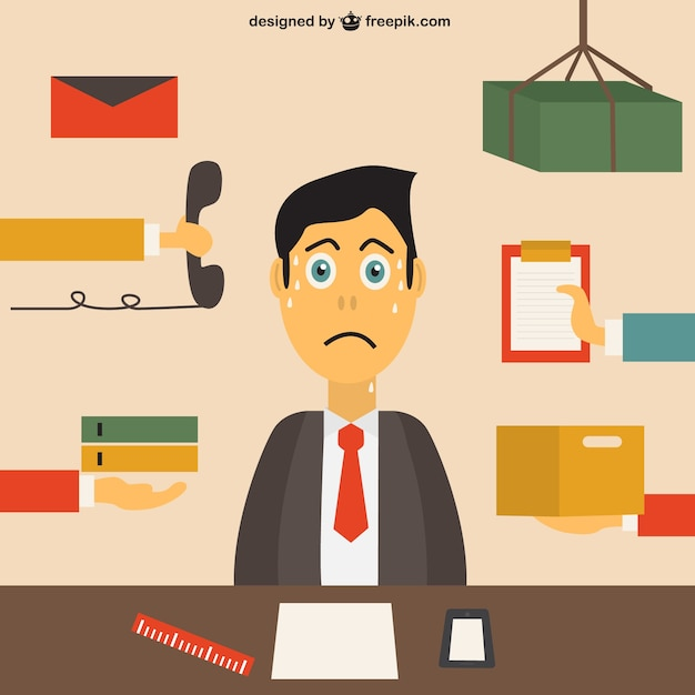 Stressed office worker Free Vector