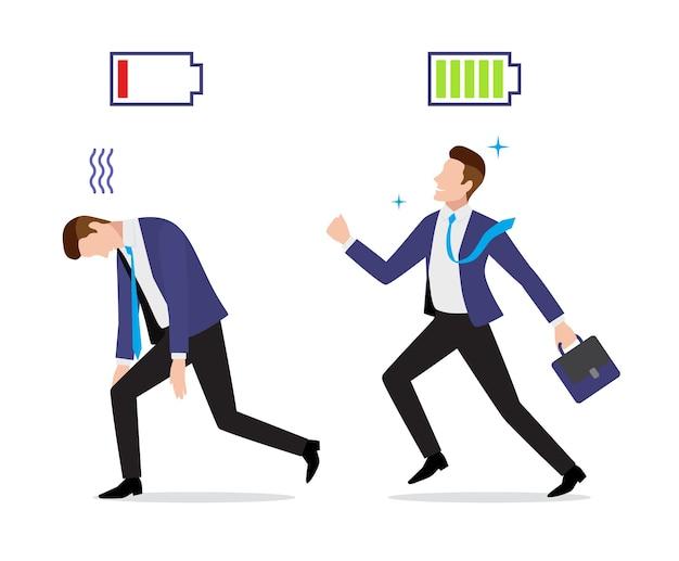 Подчеркнутый переутомленный и энергичный бизнесмен с иконкой заряженной и разряженной батареи и портфелем идет на работу Premium векторы