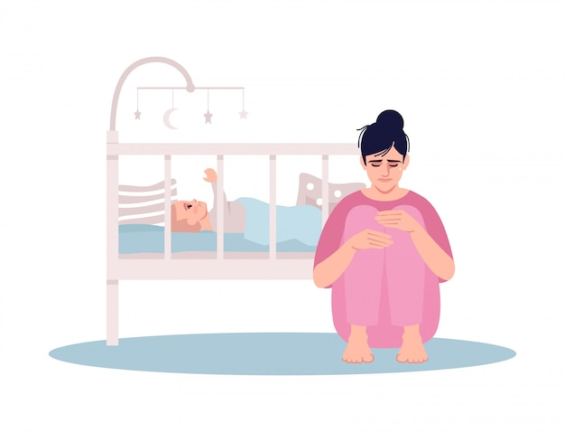 Stressed young mother semi flat illustration Premium Vector