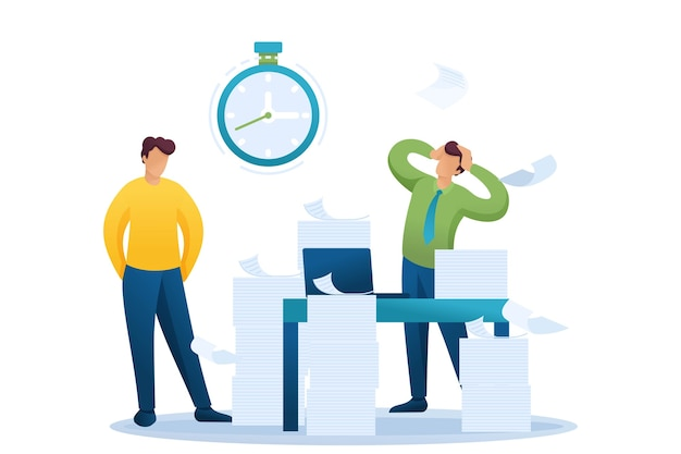 Напряженная ситуация в офисе. срок сдачи отчета, сотрудники компании в шоке. Premium векторы