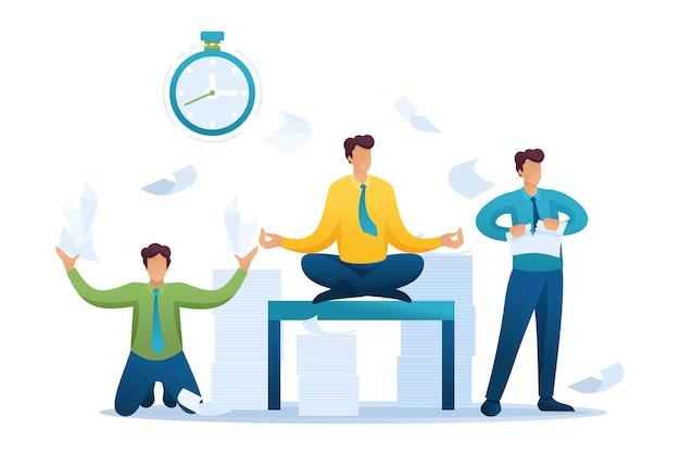 Напряженная ситуация в офисе, сотрудники бегают, решают проблемы, размышляют. Premium векторы