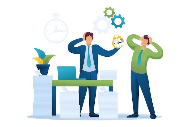 Напряженная ситуация в офисе, время уплаты налогов. Premium векторы