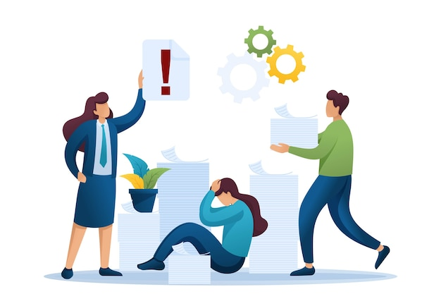 Stressful situation of the office, depression at work, a large number of reports. Premium Vector