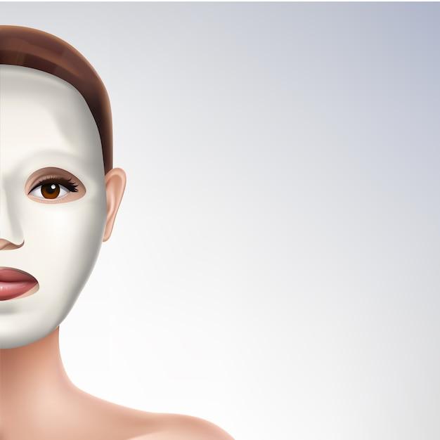 Maschera facciale elastica modello di banner pubblicitario realistico 3d Vettore gratuito
