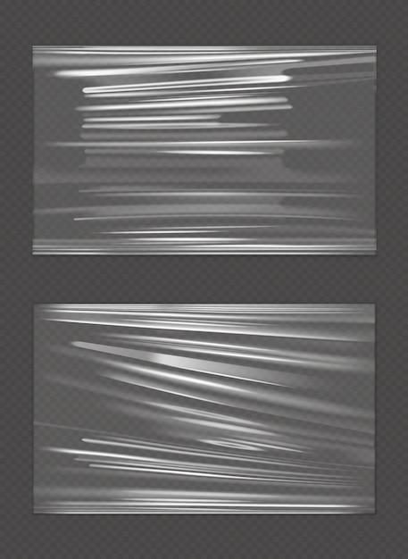 Trama piegata stropicciata striscione di cellophane allungato Vettore gratuito