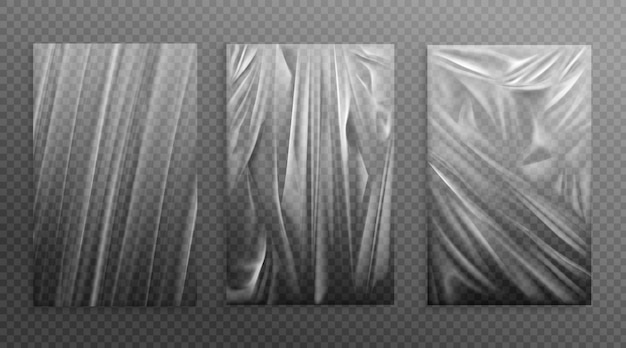Stretched cellophane crumple folded texture Free Vector