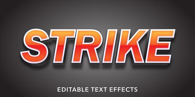 Strike Text 3d 스타일 편집 가능한 텍스트 효과 프리미엄 벡터