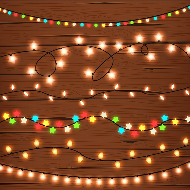 String Lights on Wooden Wall Free Vector