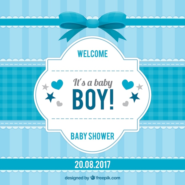 Striped baby shower invitation in blue tones Free Vector