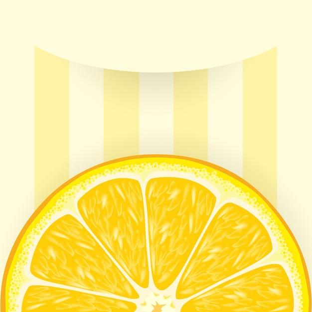 Полосатый фон с долькой апельсина Premium векторы