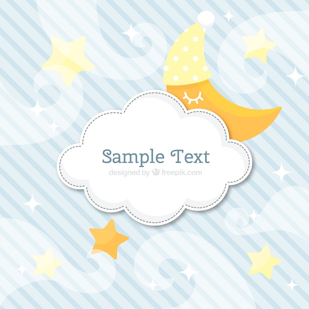 Striped background with cloud and moon Premium Vector