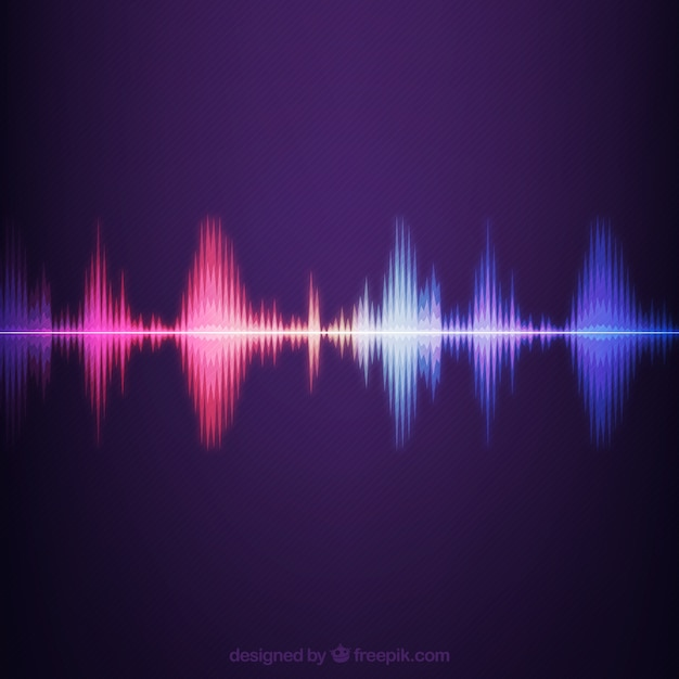 Striped background with colored sound wave Free Vector