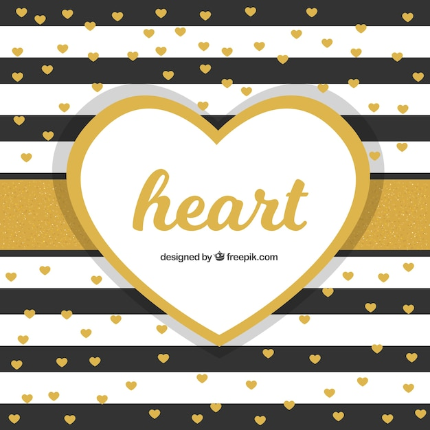 Striped background with golden hearts Free Vector