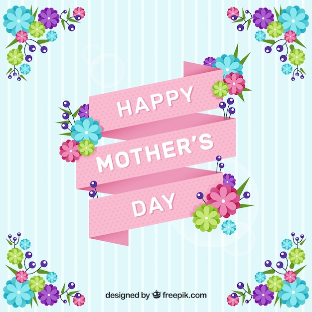Striped background with pink ribbon and colored flowers for mother's day Free Vector