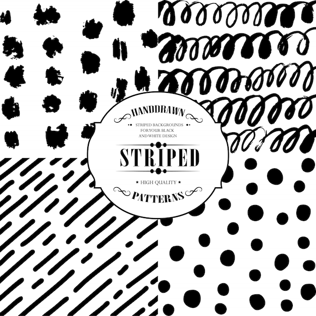 Striped and balls patterns Premium Vector