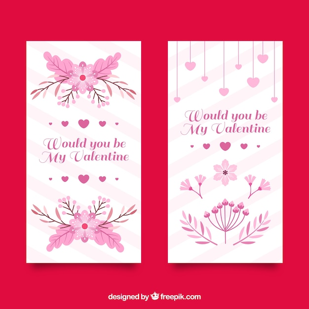 Striped banners with flowers and hearts in pink\ tones