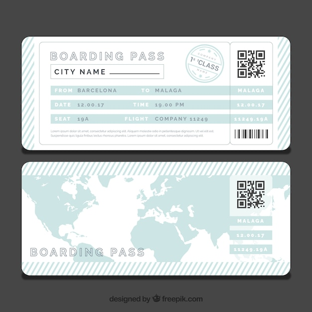 Striped Boarding Pass Template With Blue World Map Vector | Free