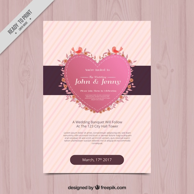 striped bridal shower invitation with cute heart and birds free vector