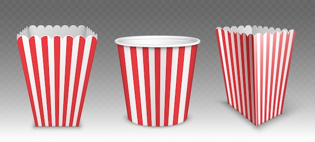 Striped bucket for popcorn, chicken wings or legs mockup isolated on transparent Free Vector