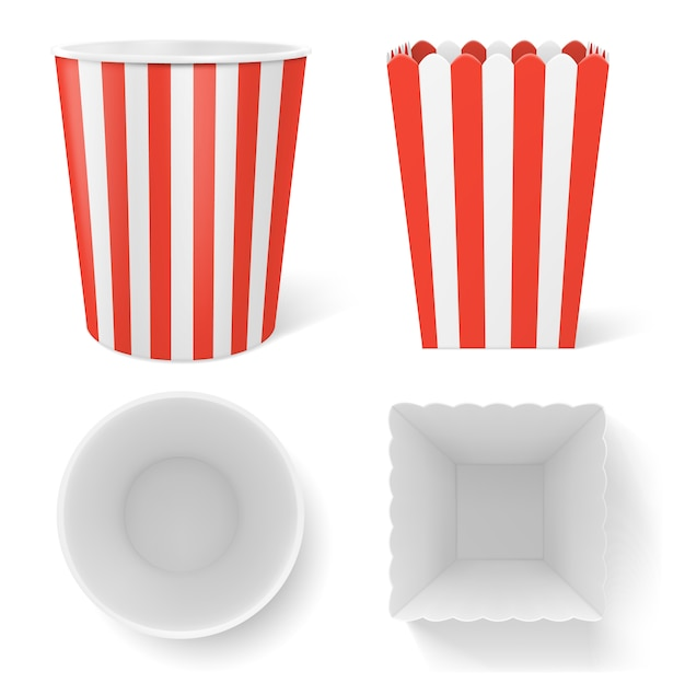 Striped bucket for popcorn, hen wings or legs pack Free Vector