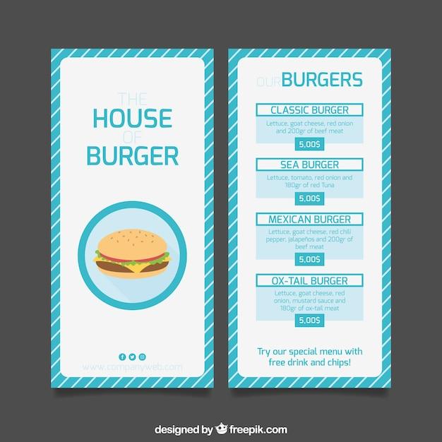 Striped Burger Menu Template Vector Free Download