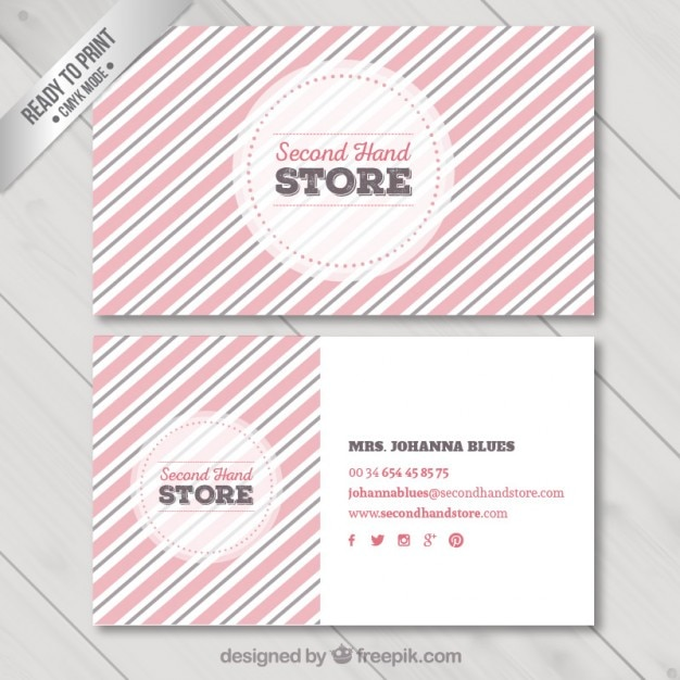 striped business card vector premium download