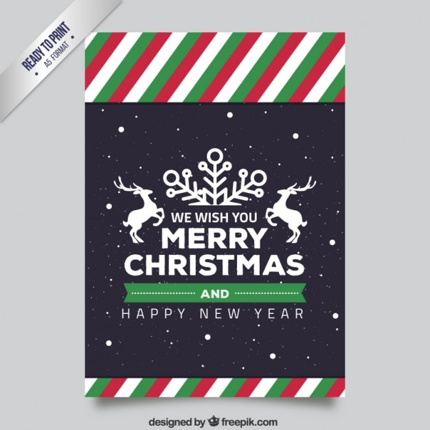 Striped christmas flyer Free Vector