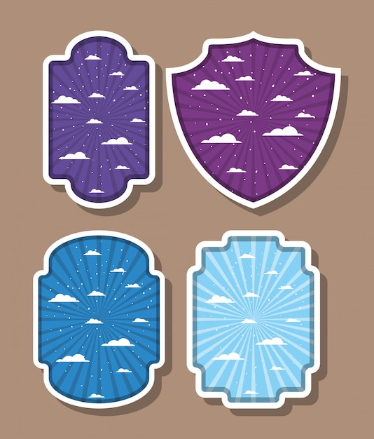 Striped and clouds  inside labels set Free Vector