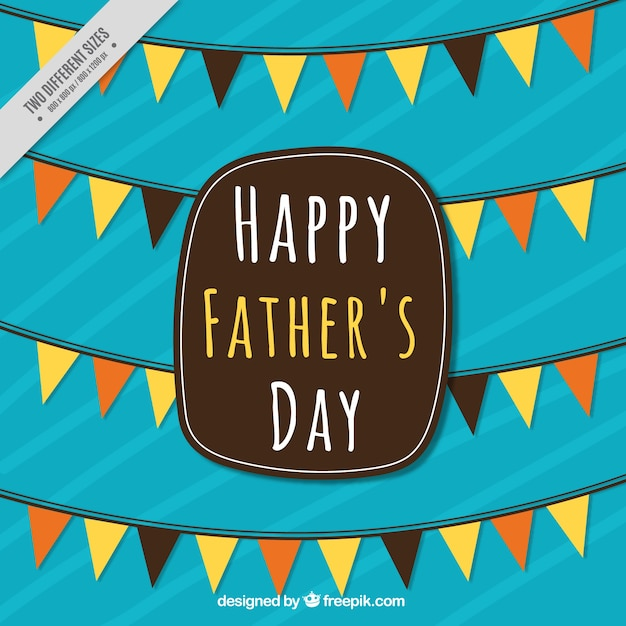 Striped father\'s day background with decorative\ garlands