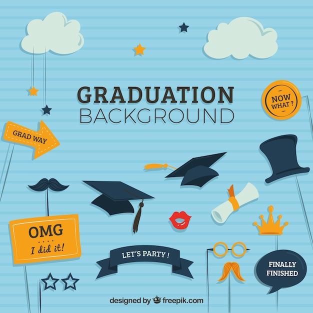Striped Graduation Background With Flat Decorative ...