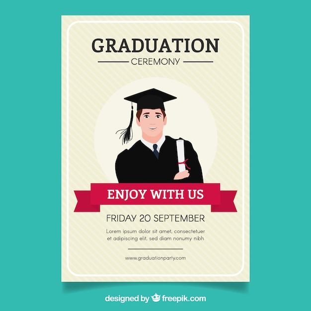 Striped graduation party brochure with student Free Vector