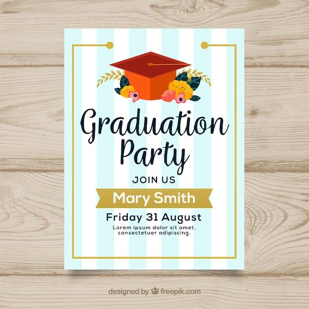 Striped graduation party invitation Free Vector