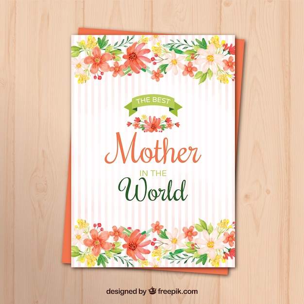 Striped greeting card with watercolor flowers for mother's day Free Vector