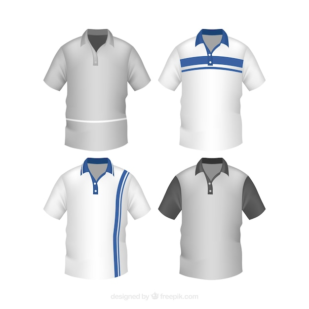 Striped male polo shirt collection Free Vector
