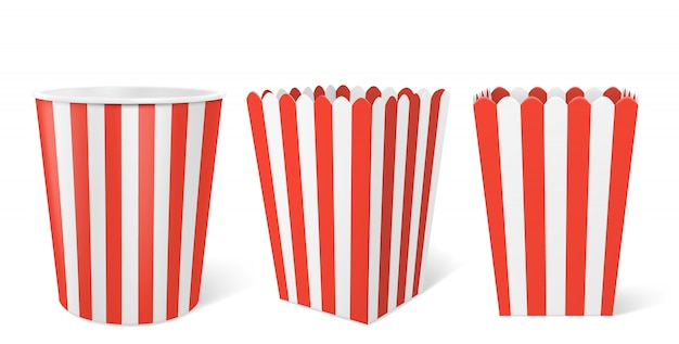 Полосатая бумажная коробка для попкорна в кинотеатре Бесплатные векторы