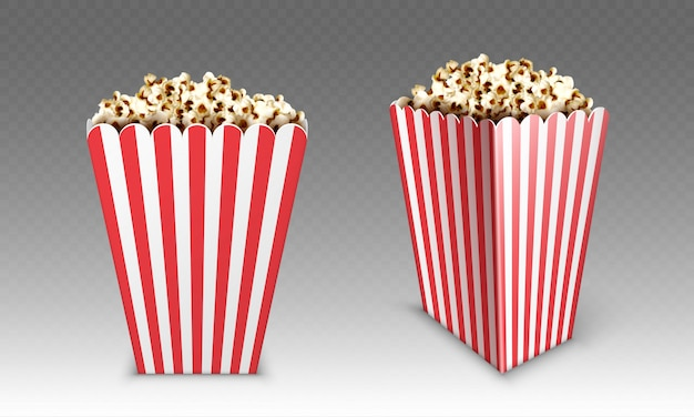 Striped paper box with popcorn isolated on white background. realistic mock up of white and red bucket with pop corn for cinema or movie theater front and angle view Free Vector