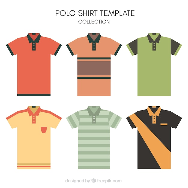 striped polo shirt template collection vector free download