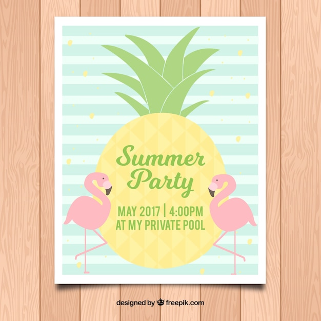 Striped poster template for summer party Free Vector