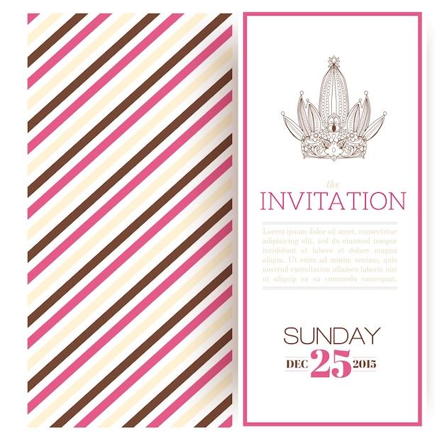Striped Princess Invitation Template Vector Free Download