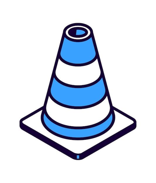 縞模様のロードコーンアイソメトリックアイコン、道路工事機器分離図 無料ベクター