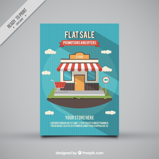 Extrêmement Striped sale flyer with decorative shop in flat design Vector  SM32