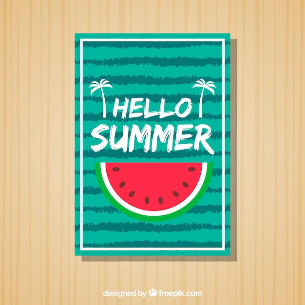 Striped summer card with watermelon portion Free Vector