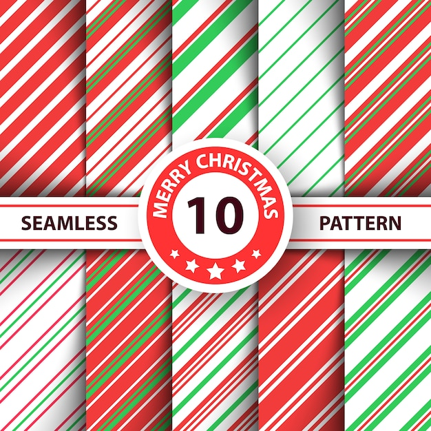 Striped sweet line merry christmas pattern. Premium Vector