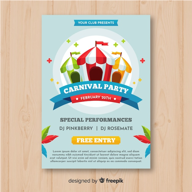 Striped tents carnival party poster Free Vector