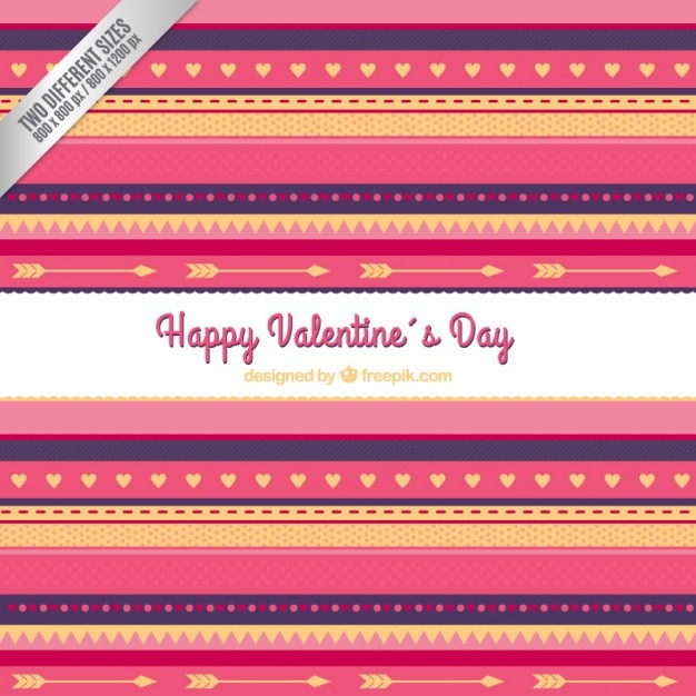 Striped valentines day background Free Vector